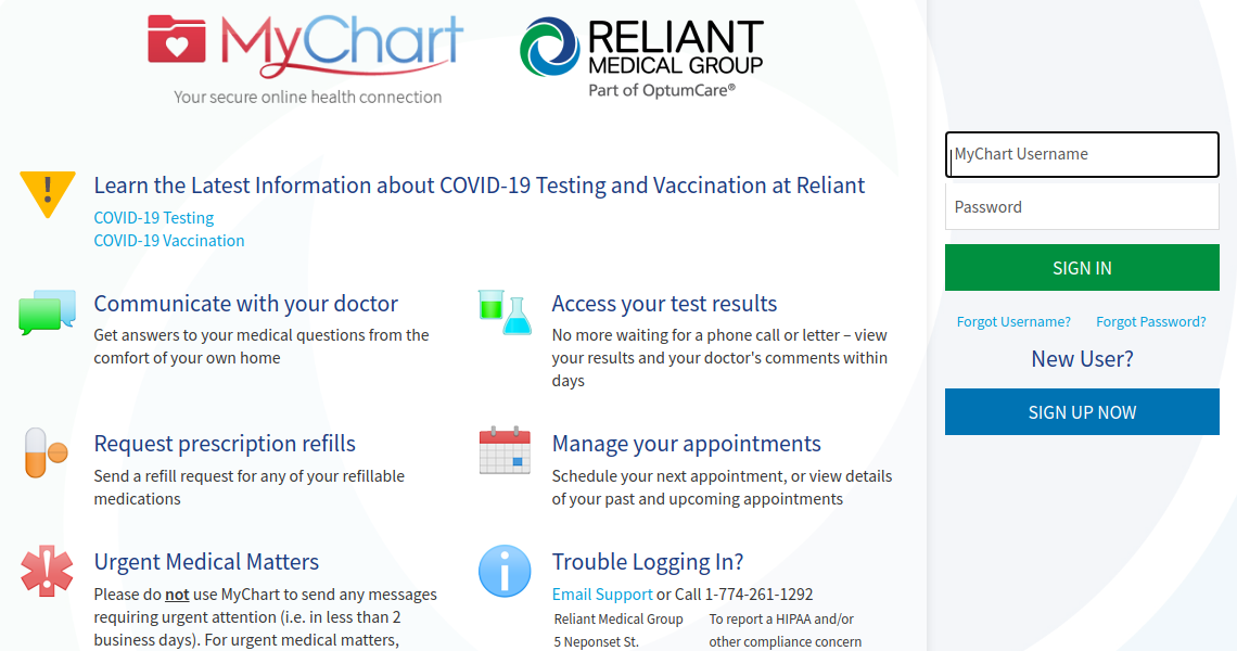 Reliant MyChart Login
